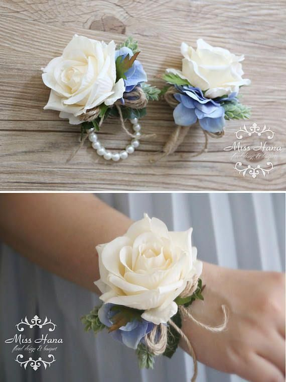 Rustic corsage White green corsage Pinecone Ivory Rose