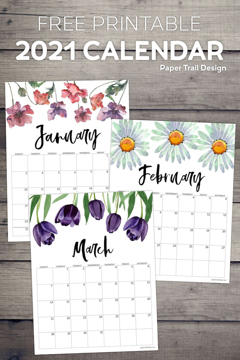 2021 Free Printable Calendar Floral Paper Trail Design In 2020 Free Printable Calendar 2021 Calendar Calendar Printables