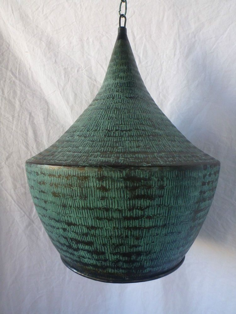 Balinese Copper Hanging Ceiling Lantern Light Fitting Lamp Shade Retro Green Green Lamp Shade