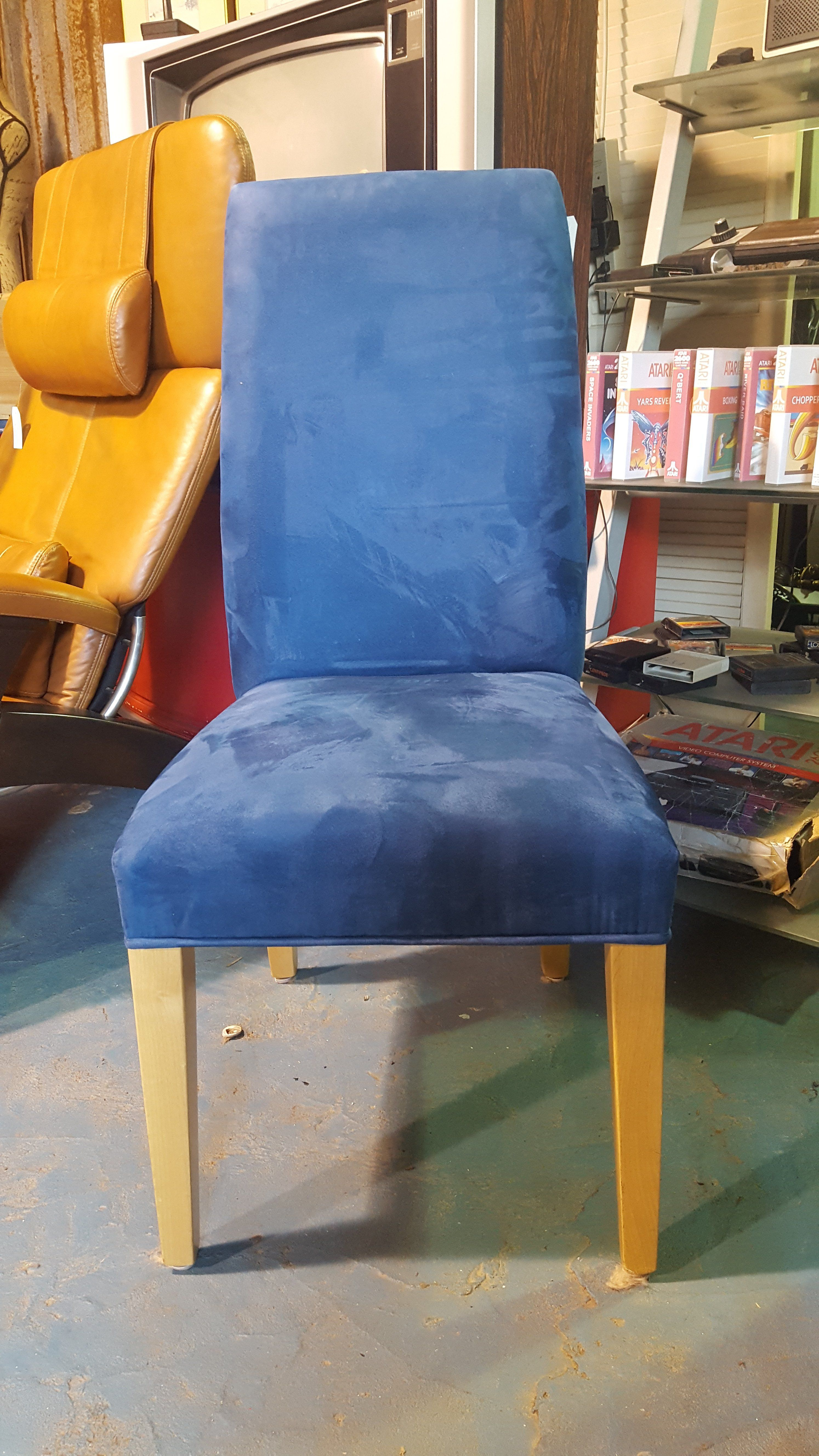 Set Of Two Blue Suede Dining Chairs