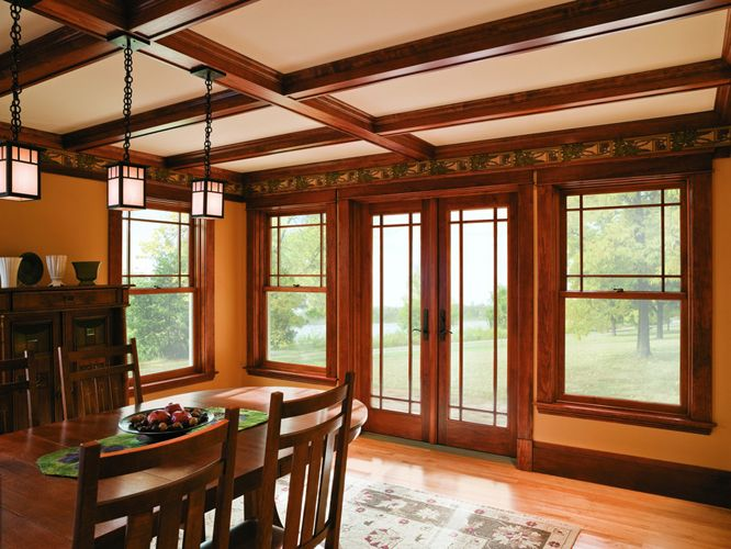 Prairie style grilles with double hung windows and a for Prairie style window