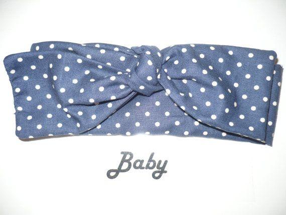 Baby Headband Navy Blue Bow Bandana Hair Tie Sash Band Knotted
