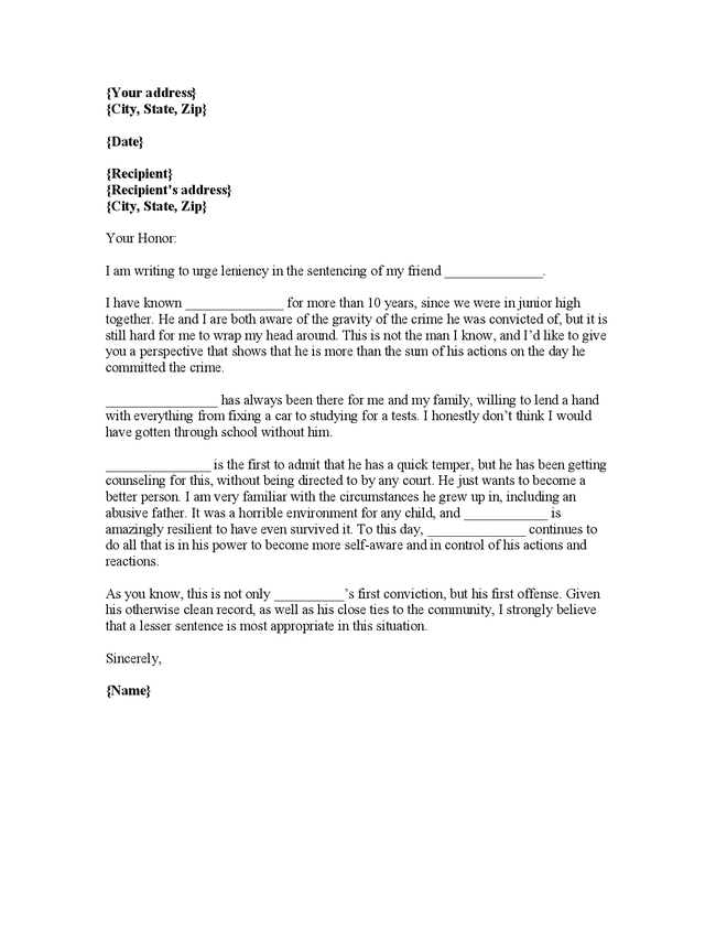 Writing Plea Leniency Letter Judge – Format for Character Reference Letter