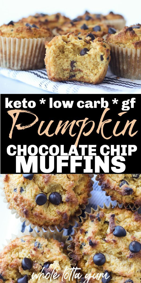 Low Carb Keto Pumpkin Muffins with Chocolate Chips