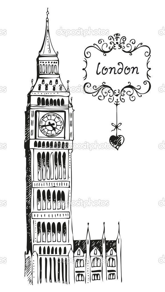 Line Drawing Tattoo London : Illustration of big ben london jrotc pinterest