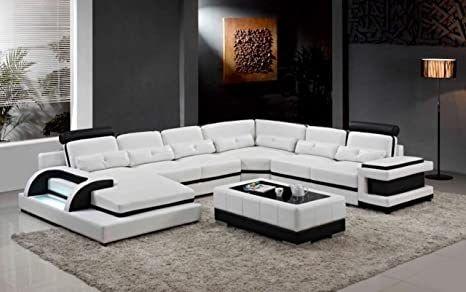 Amazon Com My Aashis Large Corner Leather Sofa For Modern U Shape Sofa Set Oloo Info C Shaped Couch Muab In 2020 Living Room Sofa Modern Sofa Sectional U Shaped Sofa