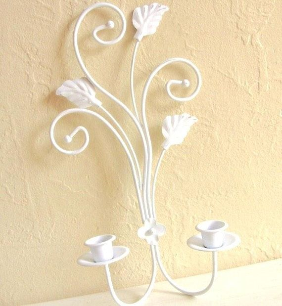 White Wall Sconce For Candles Shabby Chic Cottage Style With Gold Metal Decorative Unique Painted Ro Wallvasesconce