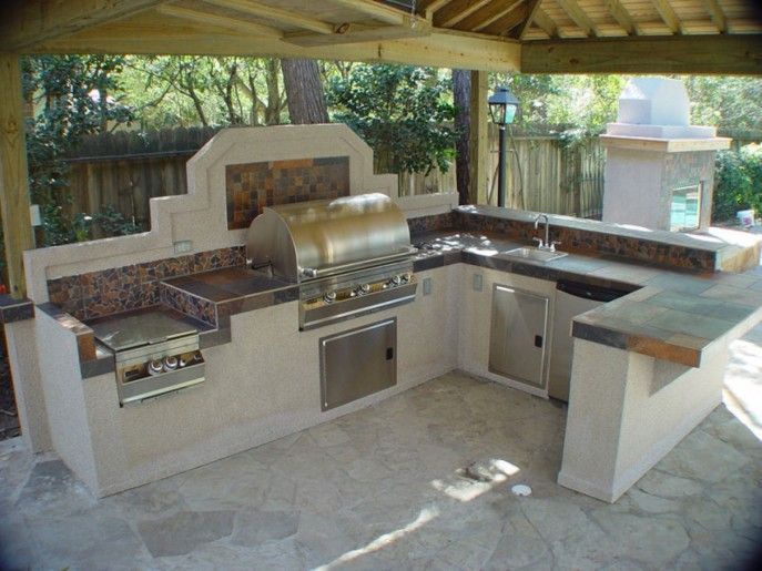 Kitchen Designs Ideas Tile Backsplash For Outdoor Kitchen Area Equipped  With Mini Sink Plus Faucet Bbq Grill Also Stove Utilizing Free Time For  Small Party ...