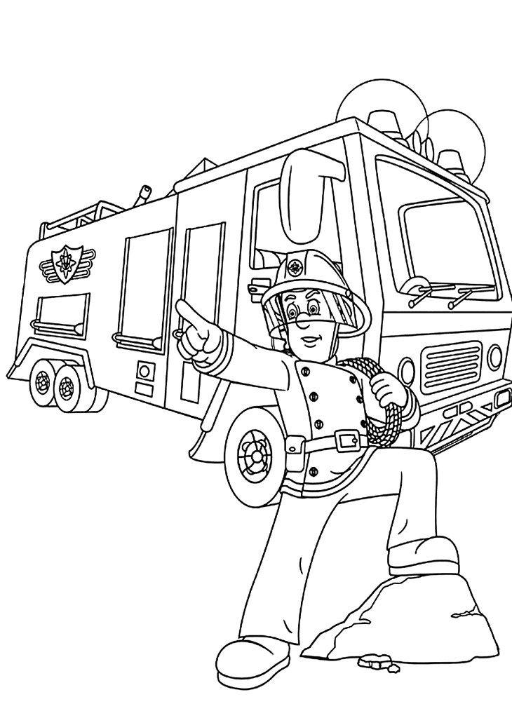 malvorlagen sam feuerwehrmann  firetruck coloring page