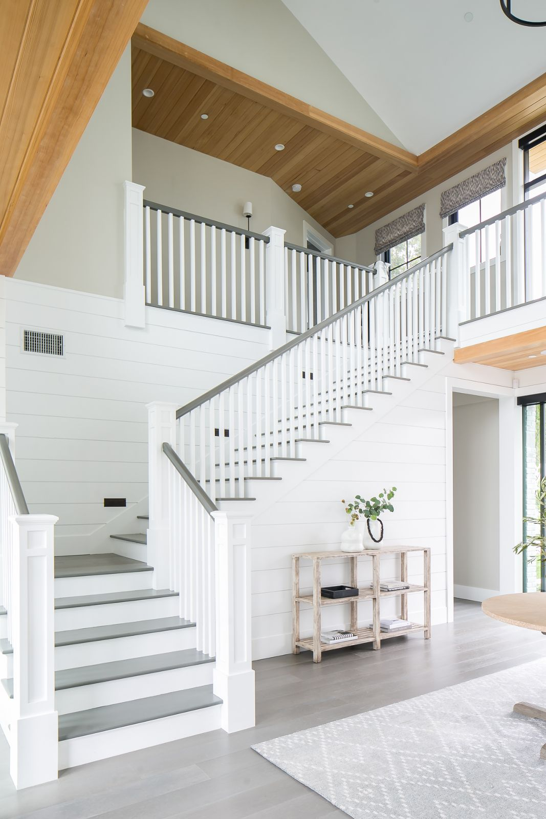 Pale gray flooring stair rail treads