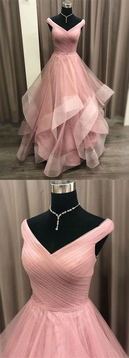Schöne rosa Ballkleider aus der Schulter Abendkleid mit Rüschen   – Dream Dresses