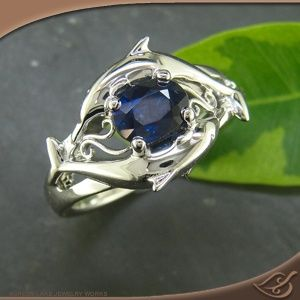 Engagement Ring Custom dolphin ring in white gold with a