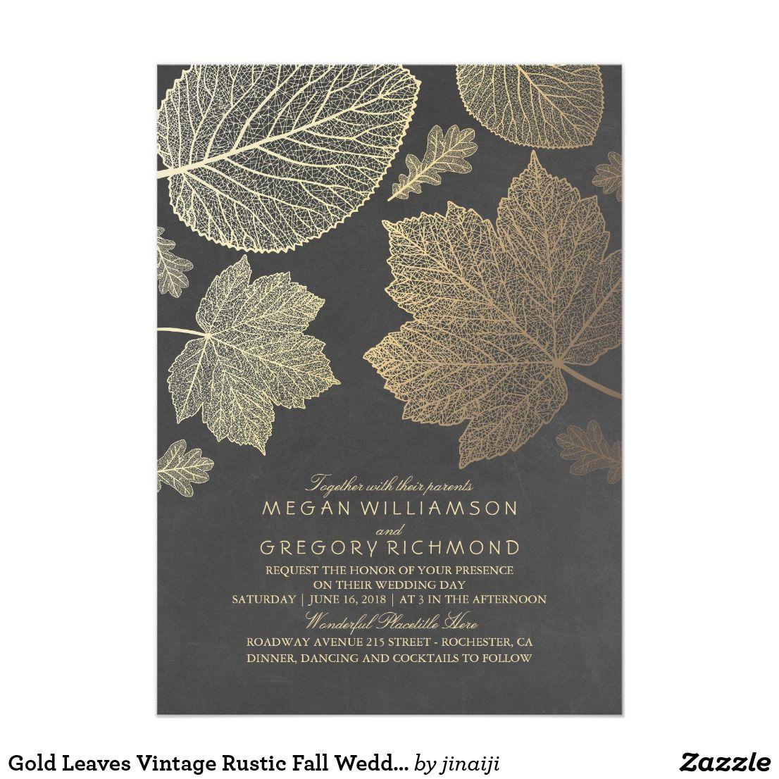 Gold verlässt Vintage rustikale Hochzeit im Herbst Karte | Karte ...