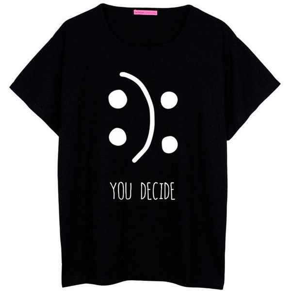 You Decide T Shirt Oversized Boyfriend Womens Ladies Girl Fun Tee Top... (€19) ❤ liked on Polyvore featuring tops, t-shirts, shirts, black, women's clothing, black oversized shirt, boyfriend t shirt, oversized shirt, loose shirts e hipster t shirts