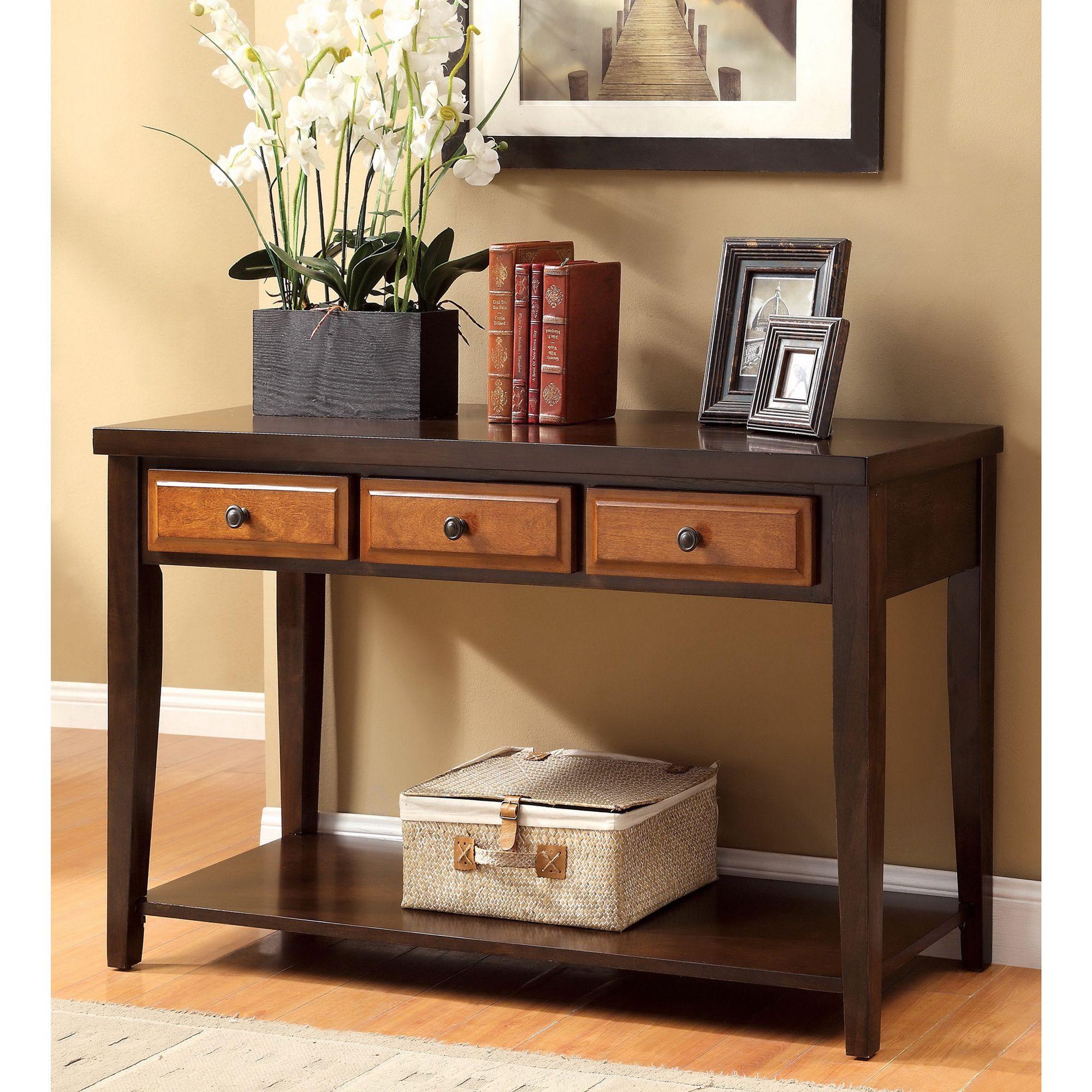 Furniture of america dark oak u cherry sente transitional storage