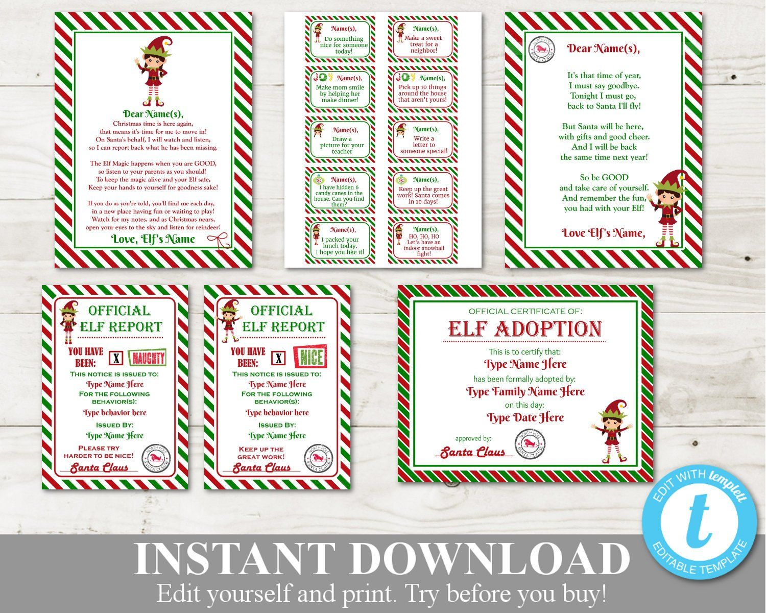 INSTANT DOWNLOAD Printable Girl Elf Package / Editable You