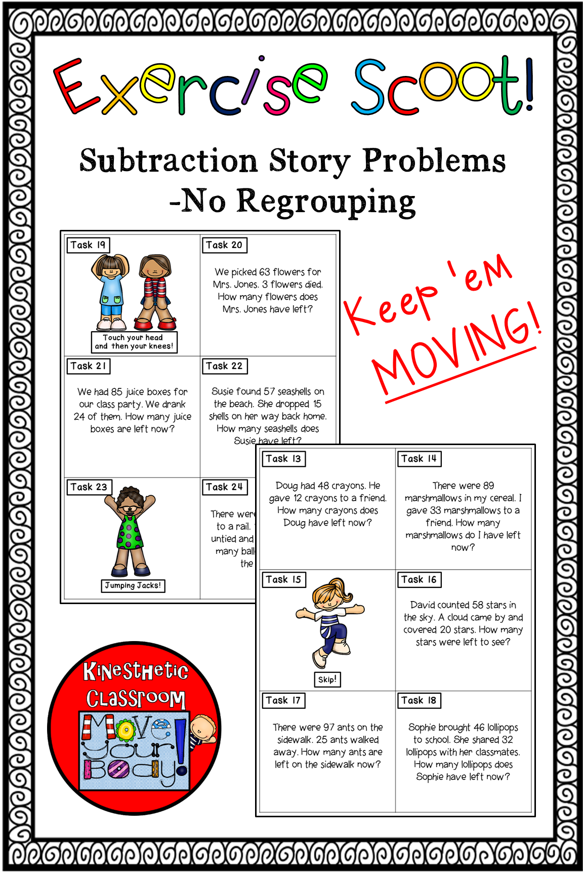 Exercise Scoot Subtraction Story Problems