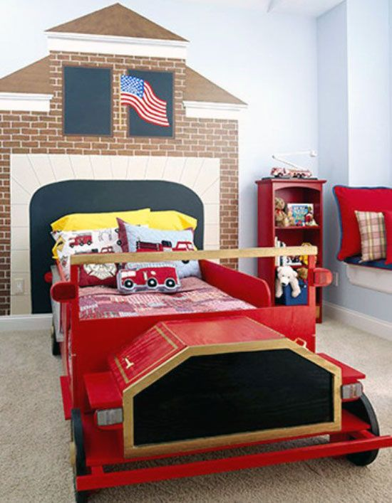 mural for firefighter themed room children s spaces