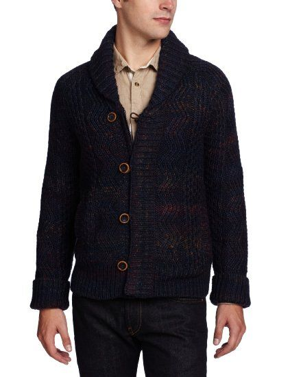 f32ca32f7d Amazon.com  Lucky Brand Men s Space Dye Cable Cardigan Button-Down Sweater   Clothing