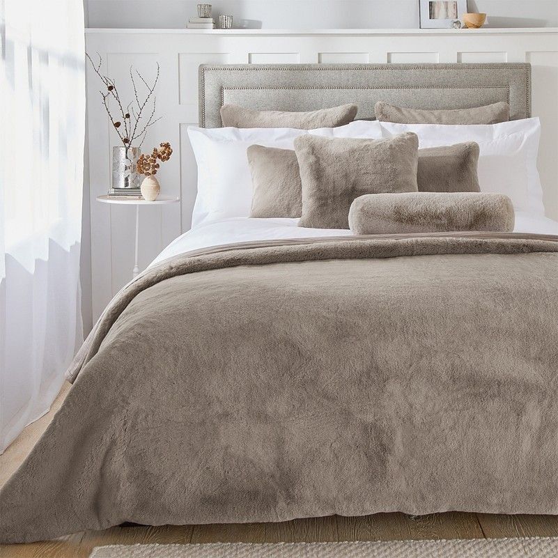 Super Soft Faux-Fur Bolster Cushion Cover | Super Soft Faux Fur Throw & Cushion Cover Collection | New In Bedroom | The White Company UK
