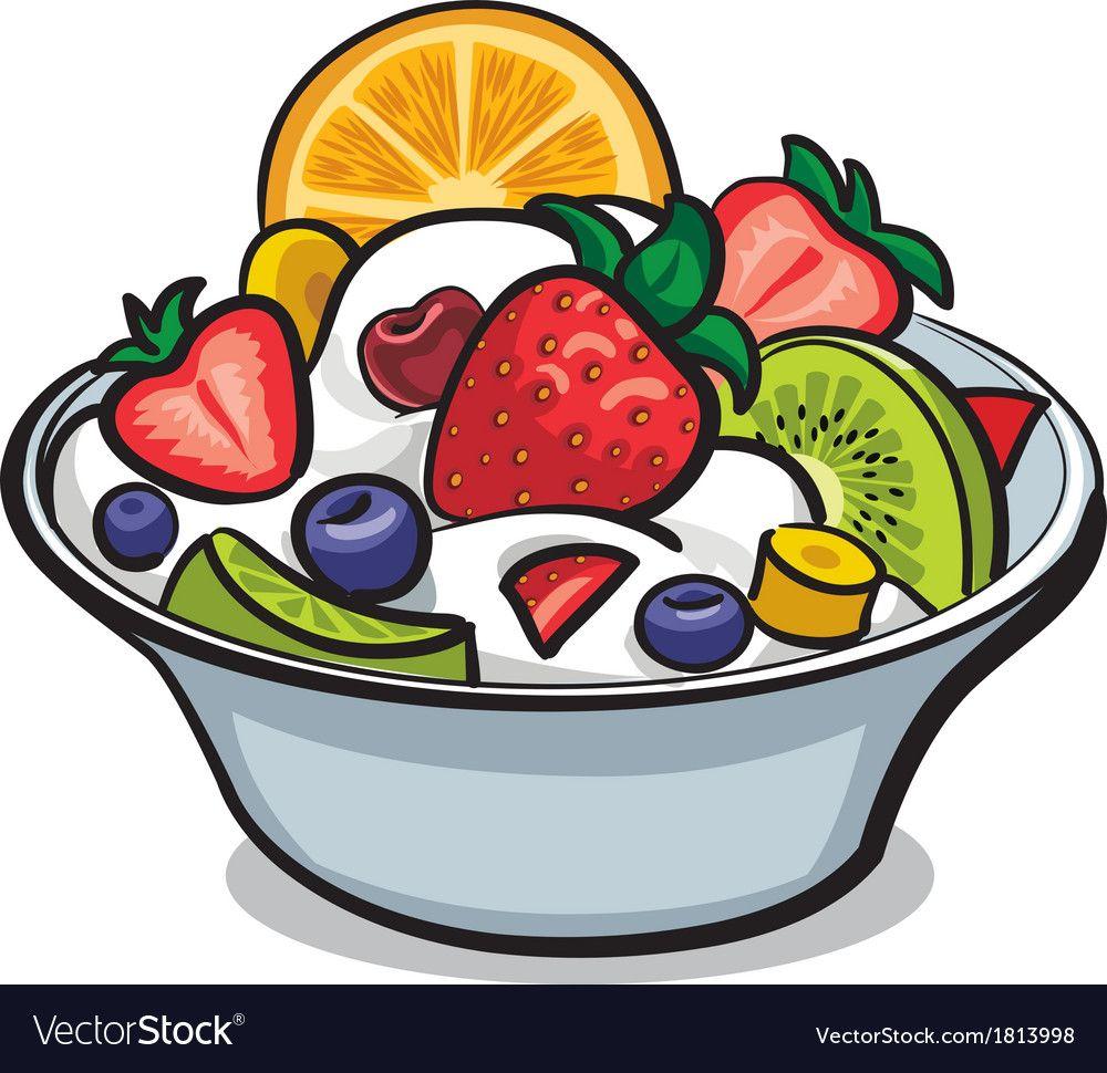 Fruit Yogurt Salad Royalty Free Vector Image Vectorstock Fruit Yogurt Fruit Logo Fruit Cartoon