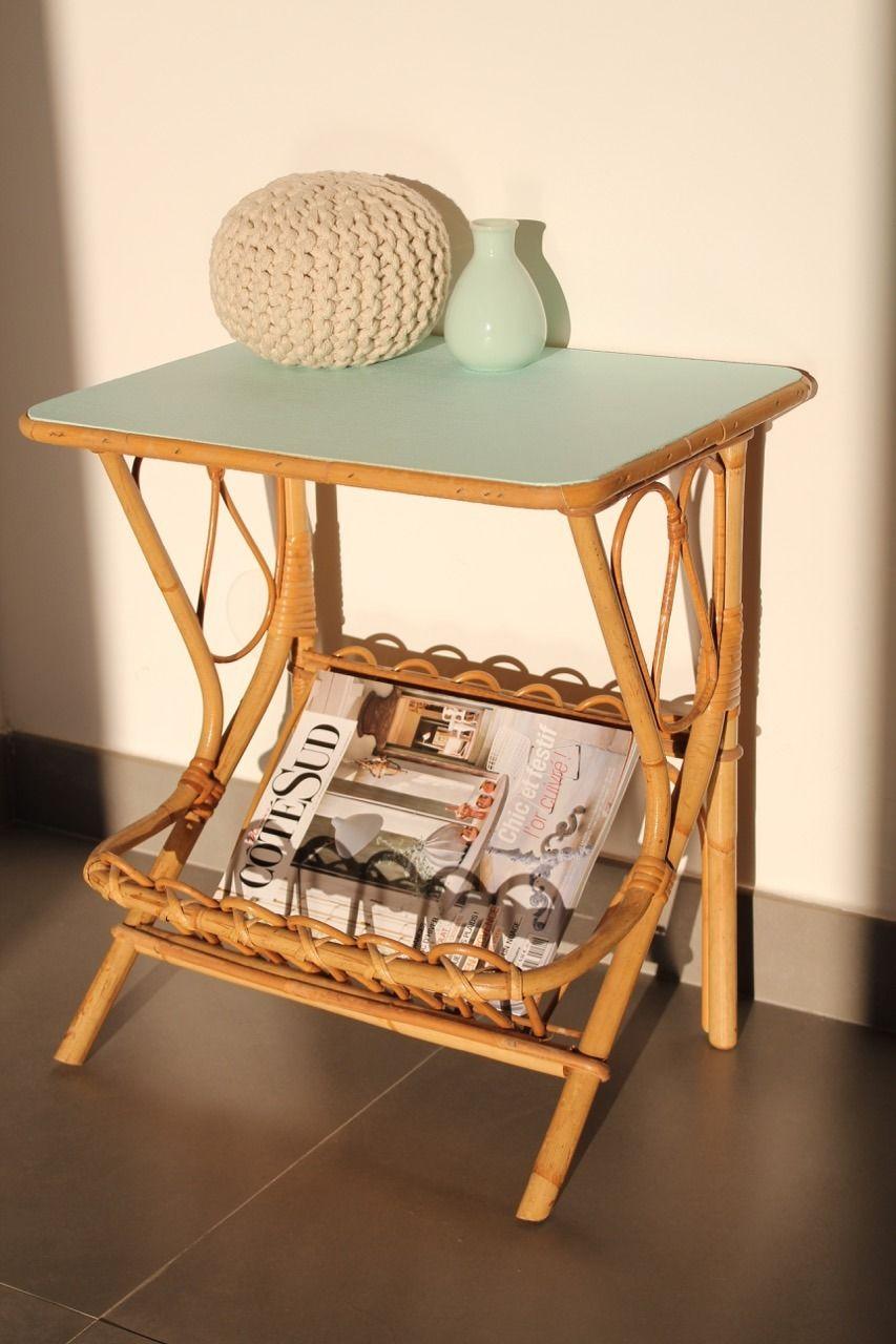petite table basse chevet vintage rotin menthe meubles et rangements par citron 12 d co. Black Bedroom Furniture Sets. Home Design Ideas