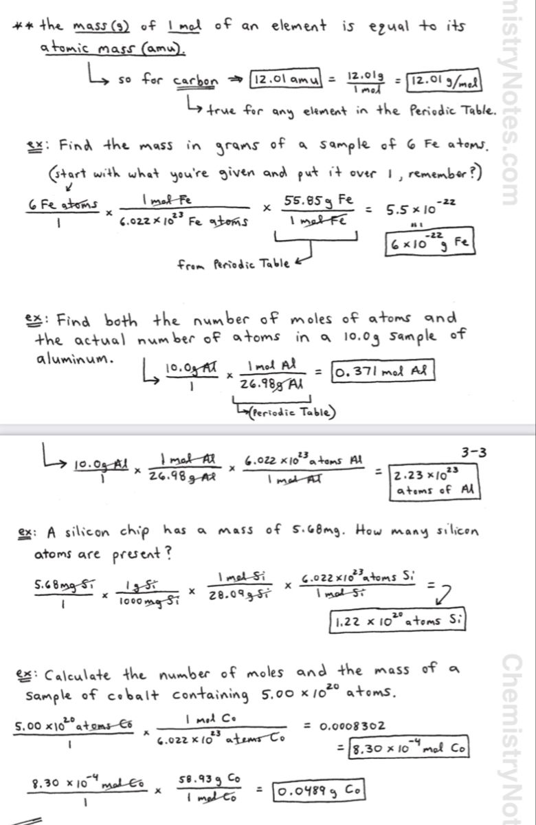 Mass To Mole Conversions Chemistry Notes Chemistry Notes Chemical Equation Chemistry Lessons