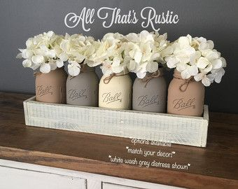 Large Mason Jar Centerpiece Table By Allthatsrustic