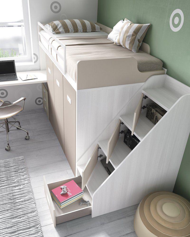 Cama tren con escalera y armarios dormitorios infantil for Cama bajo escalera