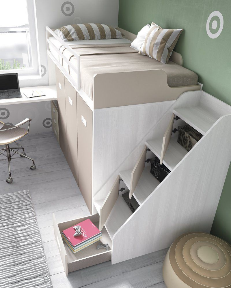 Cama tren con escalera y armarios chambres chambre for Sono pour chambre