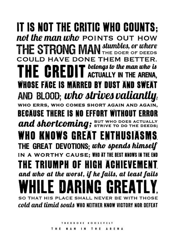 graphic about Man in the Arena Free Printable identified as Theodore Roosevelt, The Person inside of the Arena, Estimate poster