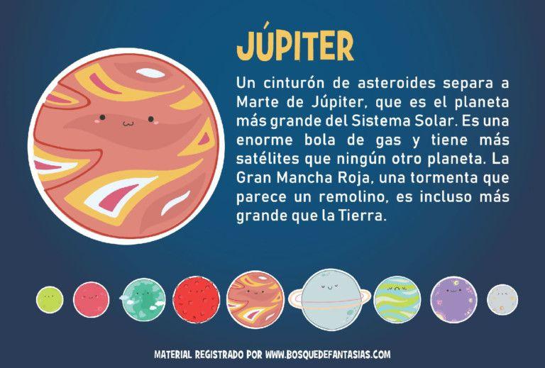 Fichas De Los Planetas Del Sistema Solar Para Primaria Planeta Júpiter Los Planetas Para Niños Planetas