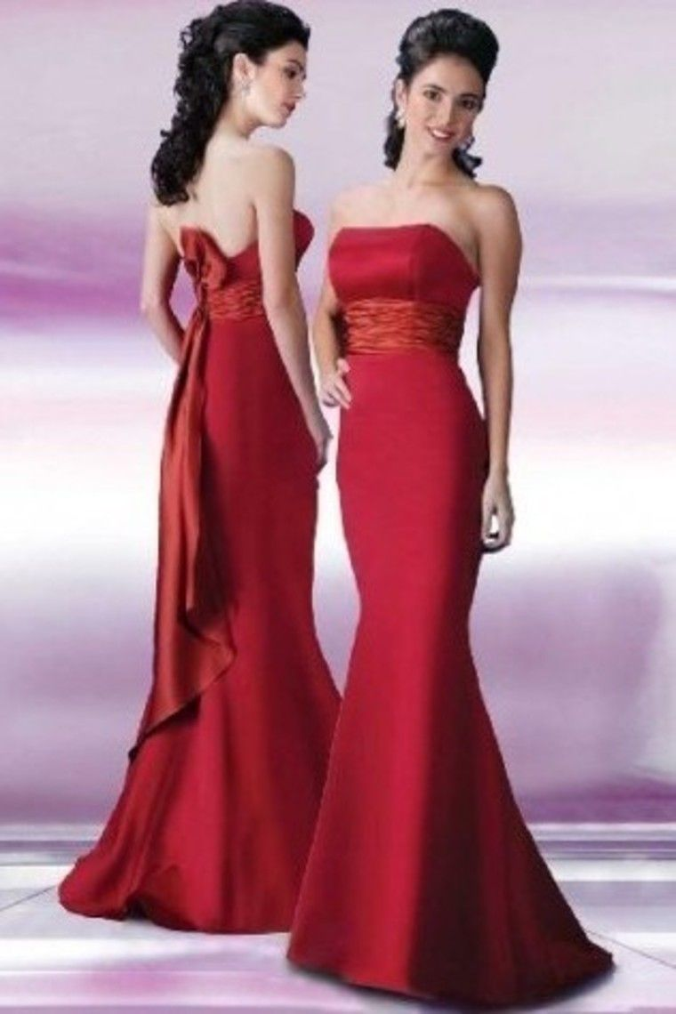 Strapless mermaidtrumpet red sweepbrush train prom dresses under