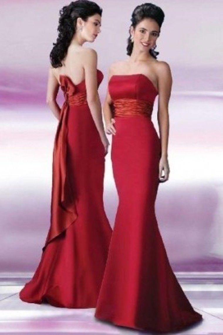 Strapless mermaidtrumpet red sweepbrush train prom dresses under