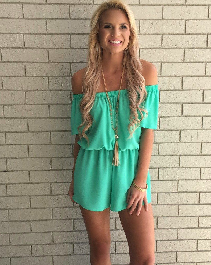 2013319f2764 Gorgeous Romper in Tiffany Blue. Off-the-shoulder style in premium bubble  crepe material. Pull-on style with elasticized waist. Two side pockets!