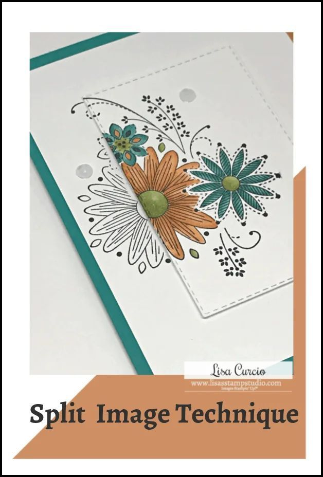 A Fun Card Making Technique that Will Make You Look Like a Pro Card Making Techniques are fun and this one is easy too! Learn how to create an eye catching split image card using any outline stamp image. Video included. #paperflowertutorial