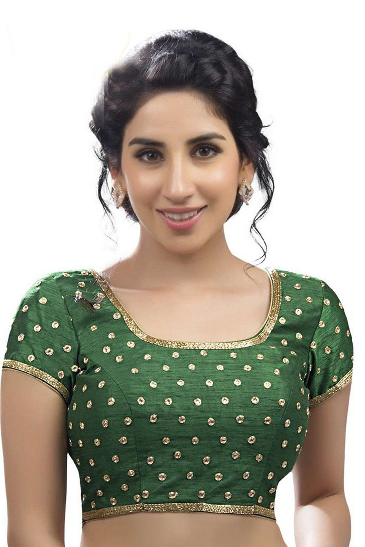 dea21666d4c2d Dark green festive wear raw silk blouse with stylish deep u neck -BL568