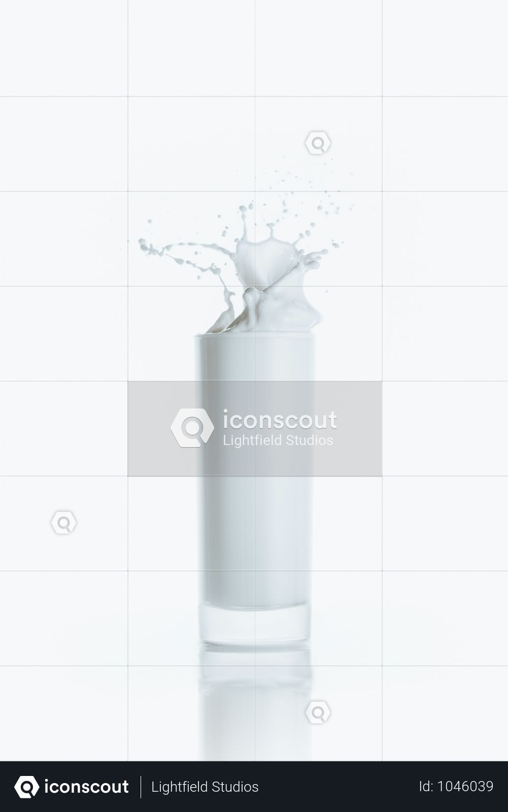 Premium Full Glass Of Milk With Splash On White With Reflection Photo Download In Png Jpg Format Reflection Photos Splash Glass