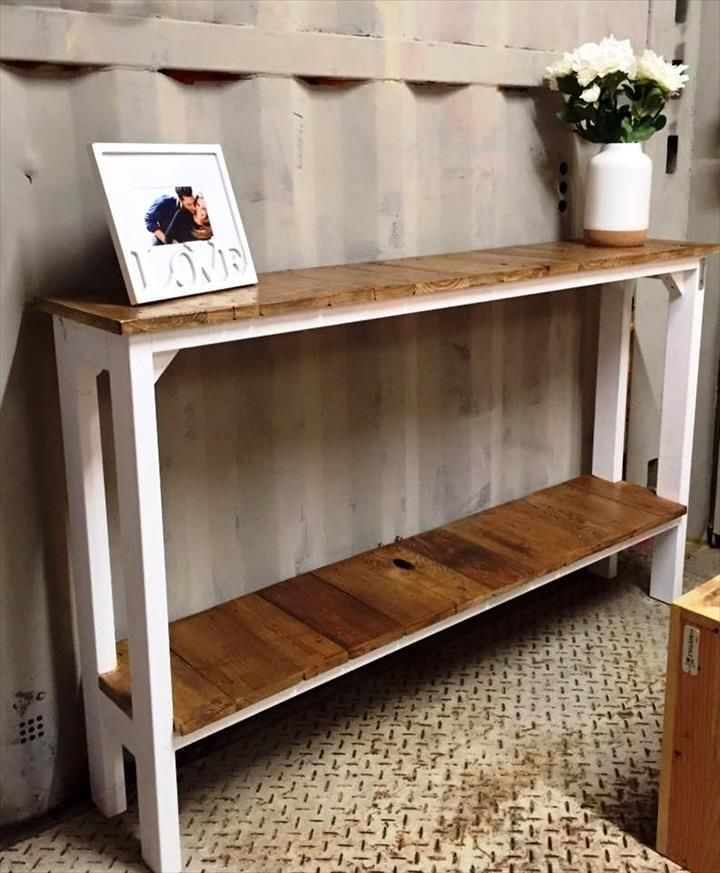 Diy Slim Long Pallet Hall Table With Built In Shelf 720x873 Pixels