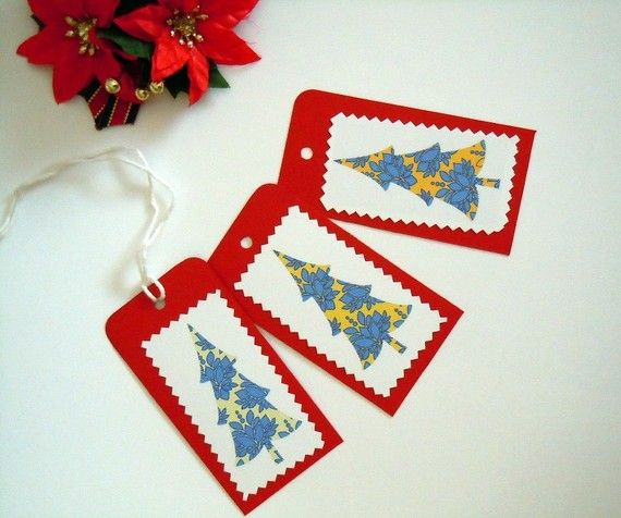 Christmas Tree Gift Tags  Set of 3 by valeriatelier on Etsy, $3.50
