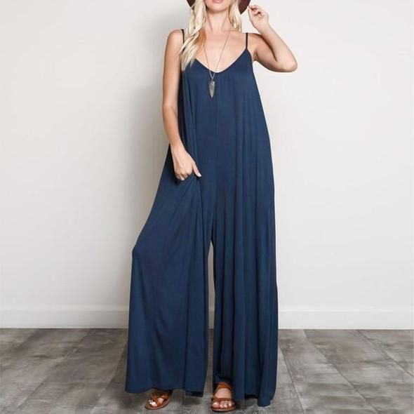Fashion 2018 Summer ZANZEA Women Jumpsuits Casual Sexy V Neck Strappy Loose Overalls Wide Leg Pants Elegant Solid Work Rompers 1