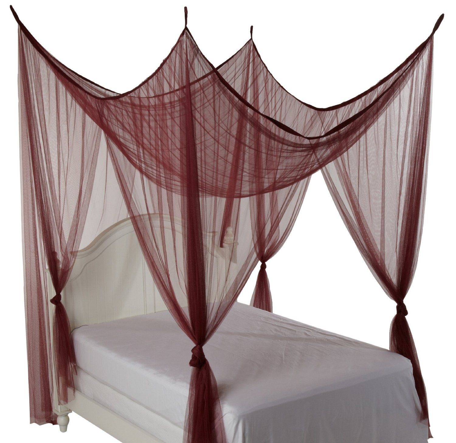 simple four poster bed canopy drapes with burgundy color 4
