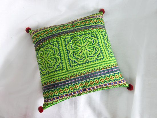 Green Handmade Exquisite Embroidered Pillow Cover. This item is fully hand embroidered with shiny silky threads cushion cover. The Pillow Cover patterns are beautifully Fabric.  A gorgeous decoration for your home interior !  Thailand Handmade Product, made by hands with love.  We have 2 colors --> Orange and Green  Feel free to choose #green #pillow #pillowcase #handmade #embroidered