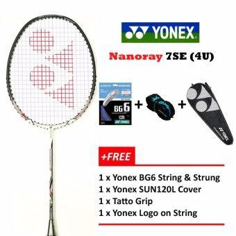 Yonex Voltric Nanoray 7se 4u Whitefree Strung 26lbs Prestrungyy Logo Badminton Racket Package Yonex Badminton Racket Badminton