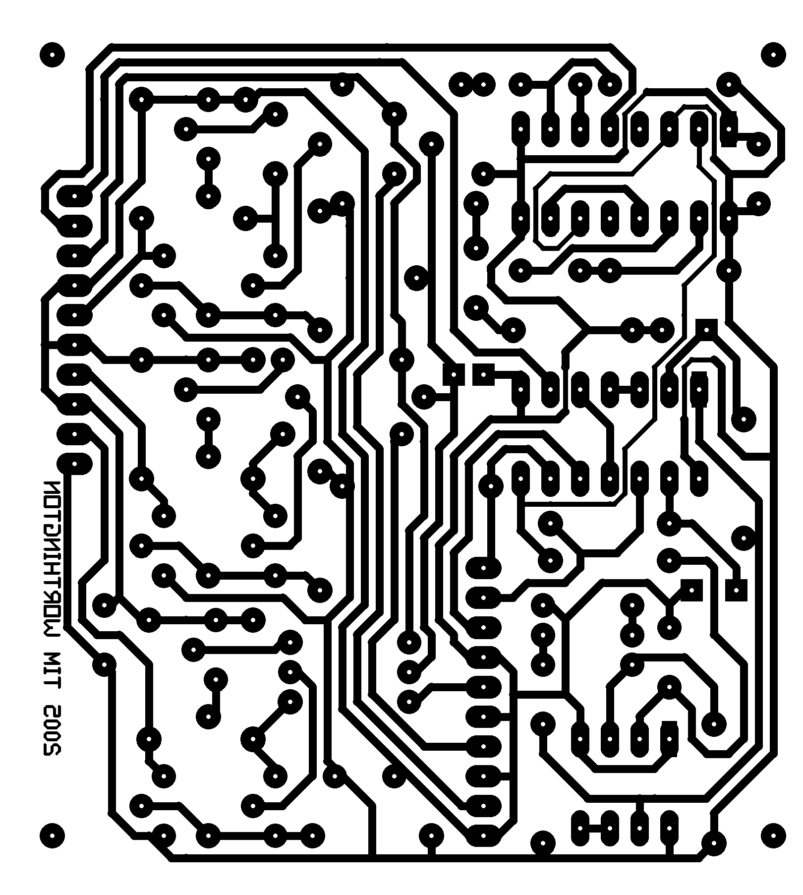 Uniform Connectedness.  The white color of the background allow the viewer to perceive the electrical isolation of each trace on the circuit board.