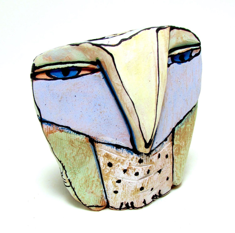 "15% OFF SALE Owl art, ceramic owl sculpture, whimsical, colorful owl figurine, 3-1/2"" tall, signed handmade owl art - $40.80 USD"
