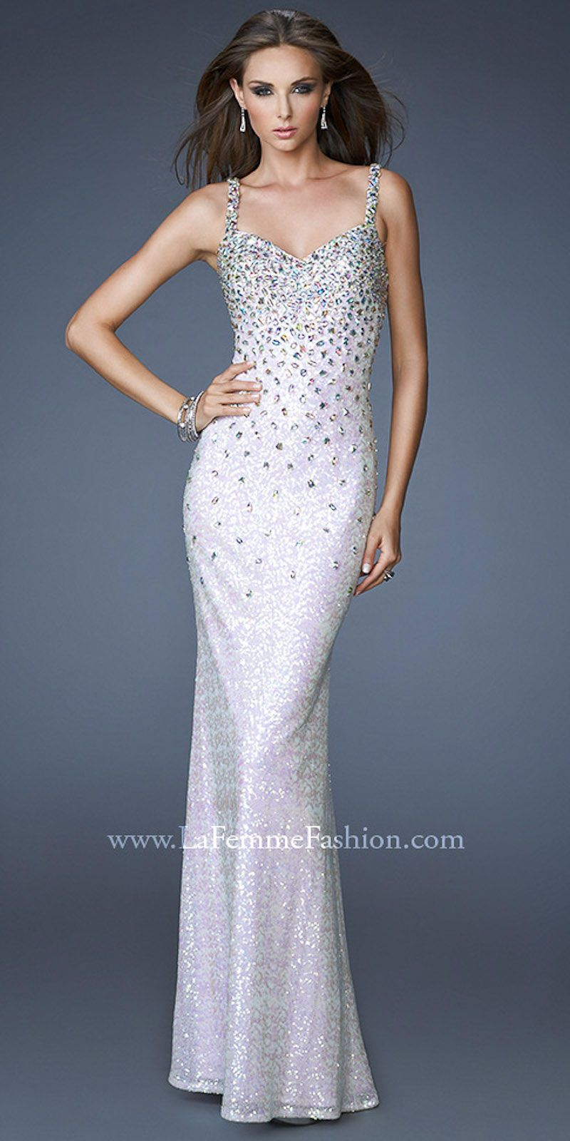Sequins and jewel encrusted evening gowns by la femme fashion