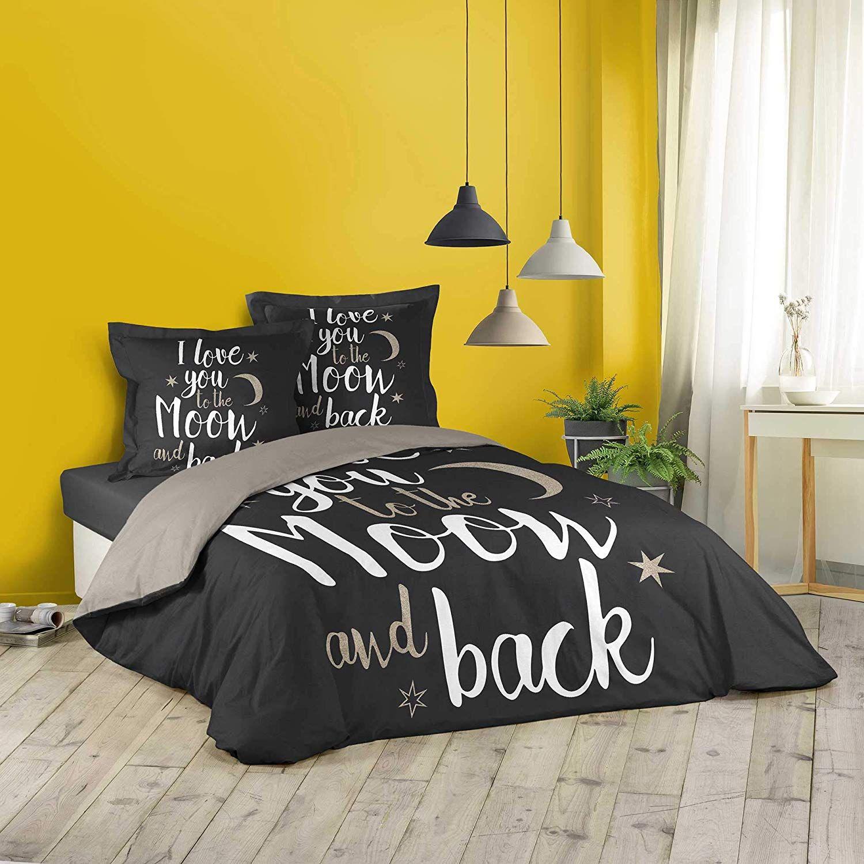 Housse De Couette Love Back Noir 220x240cm 2 Personnes 100 Coton En 2020 Housse De Couette Parure De Couette Couette
