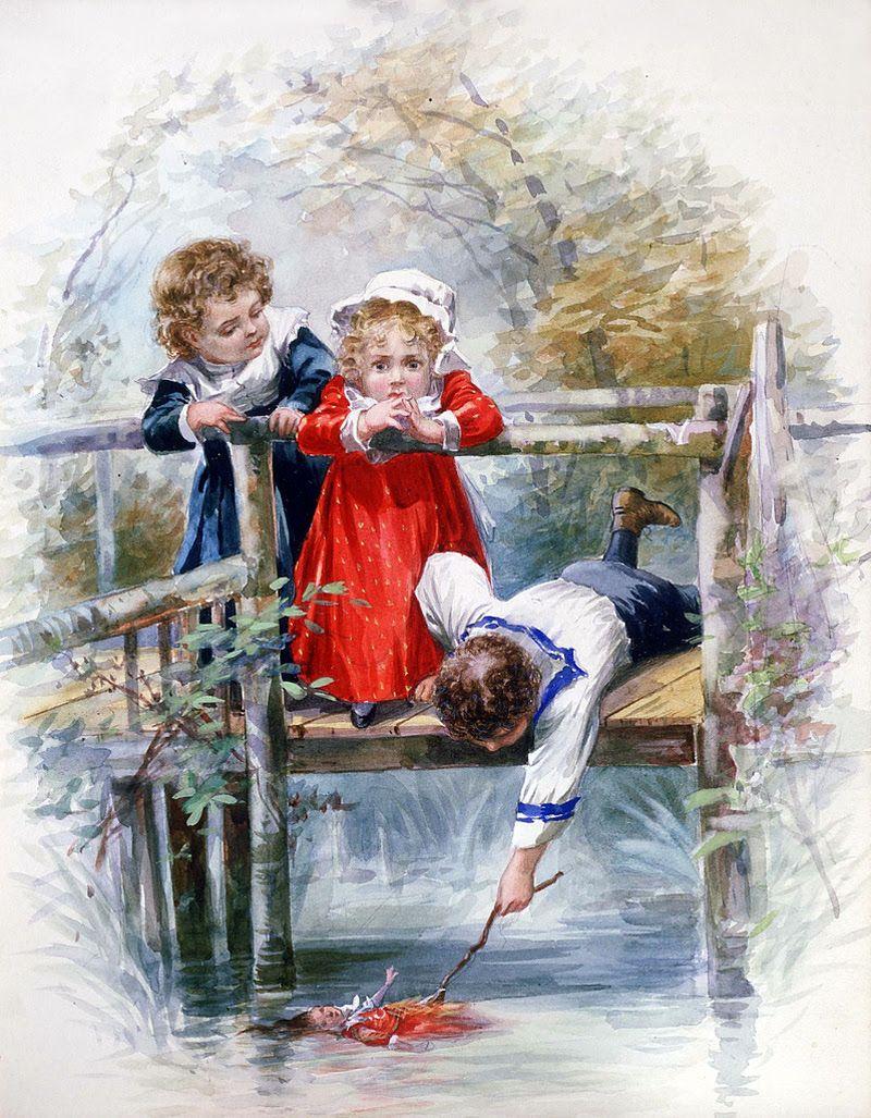 Летием девушке, детские старинные картинки