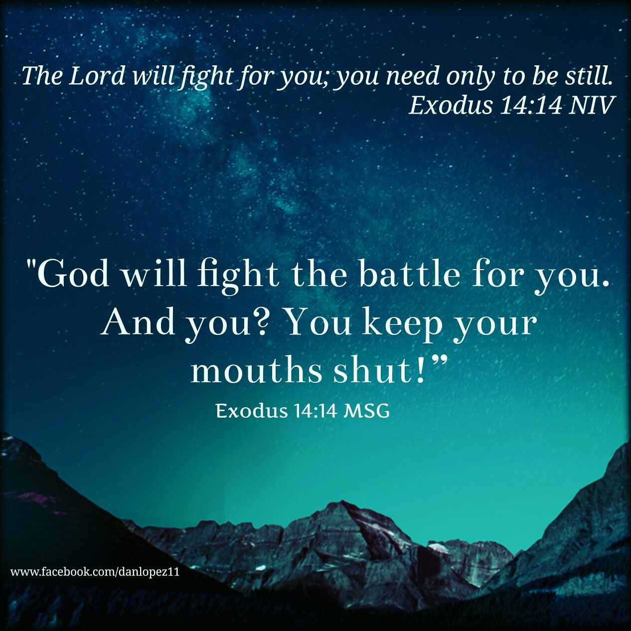 Exodus 14:14 MSG God Will Fight The Battle For You. And